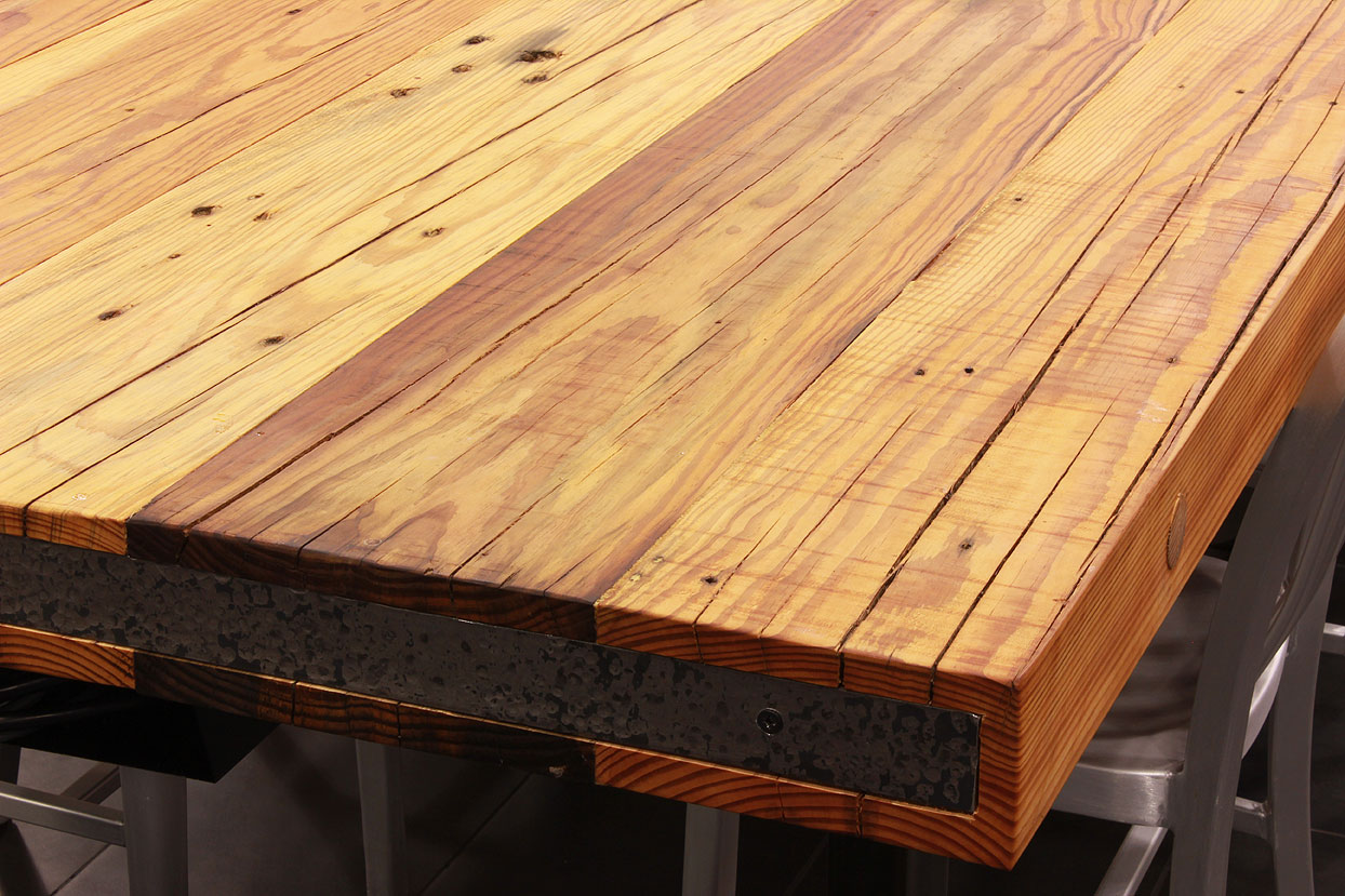 Rustic heart pine table top sir belly for Recycled hardwood