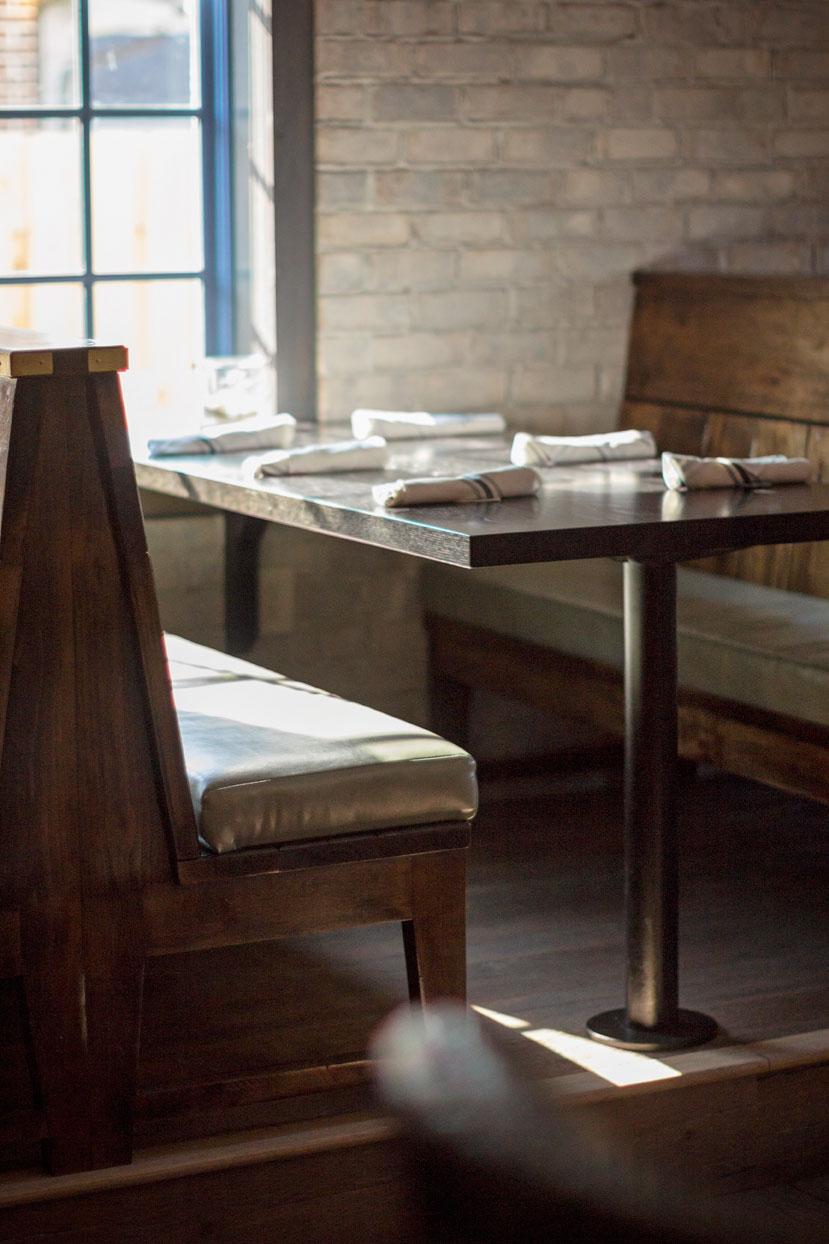 Dark stained oak restaurant table top