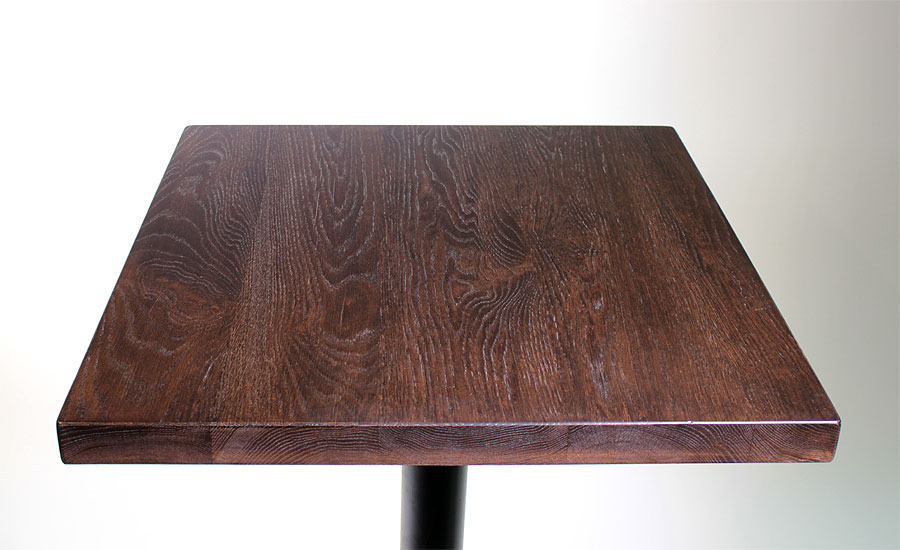 solid hickory restaurant table top with stain sir belly